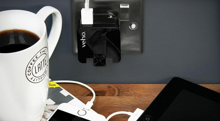 Veho VAA-009 Folding Dual USB Mains Adapter Plug - 2.1A