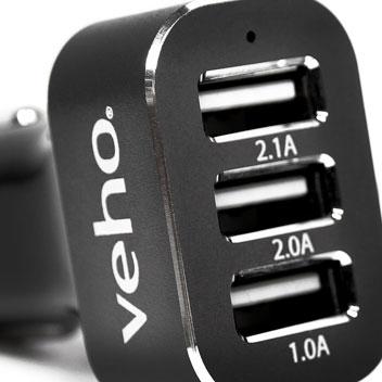 Veho VAA-010 Triple USB Car Charger - 5.1A