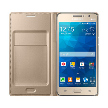 lowest price 1067d 3bf85 Official Samsung Galaxy Grand Prime Flip Wallet Cover - Gold