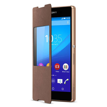 Official Sony Xperia Z3+ Style Cover with Smart Window SR30 - Gold