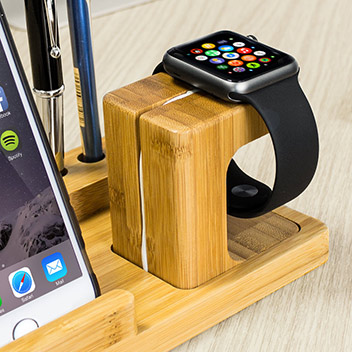 Olixar Charging Apple Watch Wooden Desk Stand With Iphone