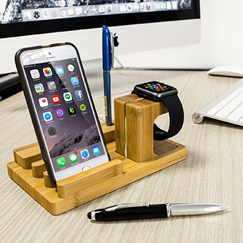 Olixar Charging Apple Watch Wooden Desk Stand with iPhone Dock