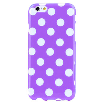 Polka Dot FlexiShield iPhone 6 Gel Case - Purple