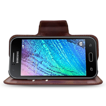 Encase Rotating Leather-Style Samsung Galaxy J1 Wallet Case - Brown