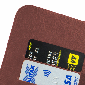 Encase Rotating Leather-Style Vodafone Smart Prime 6 Wallet Case - Brown