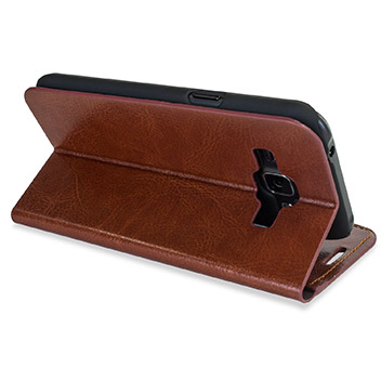 Olixar Leather-Style Samsung Galaxy J1 Wallet Case - Brown