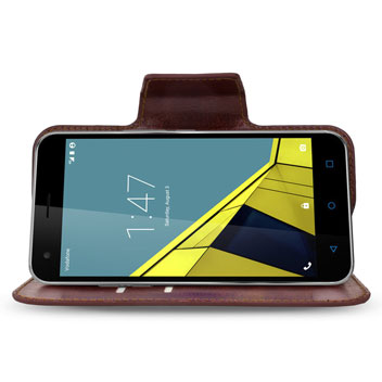 Encase Rotating Leather-Style Vodafone Smart Ultra 6 Wallet Case - Brown