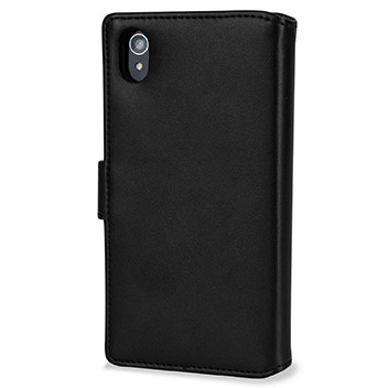 Olixar Premium Genuine Leather Sony Xperia M4 Aqua Wallet Case - Black