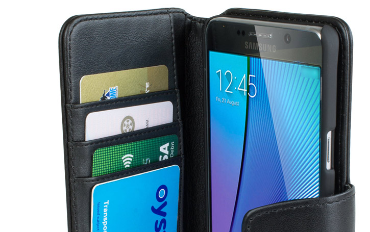 Olixar Genuine Leather Samsung Galaxy Note 5 Case - Black
