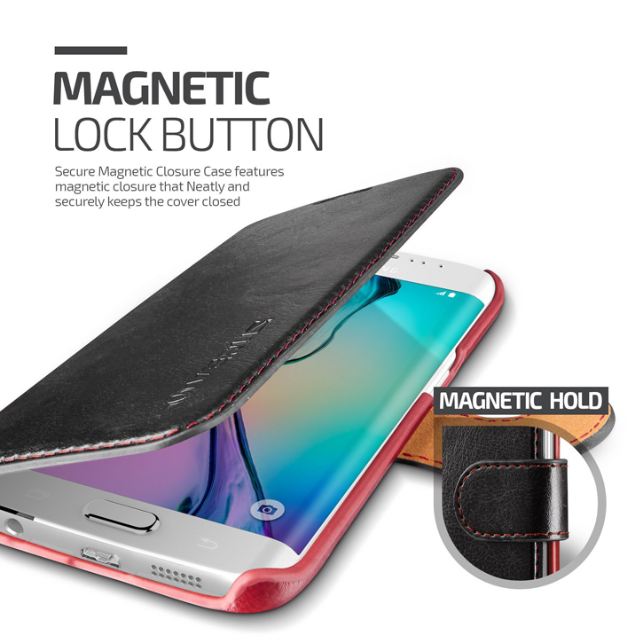 Verus Dandy Leather-Style Samsung Galaxy S6 Edge Wallet Case - Black