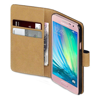 Olixar Samsung Galaxy A3 2015 Leather-Style Wallet Case - Black / Tan