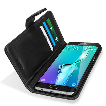 Olixar Samsung Galaxy S6 Edge+ Genuine Leather Wallet Case - Black