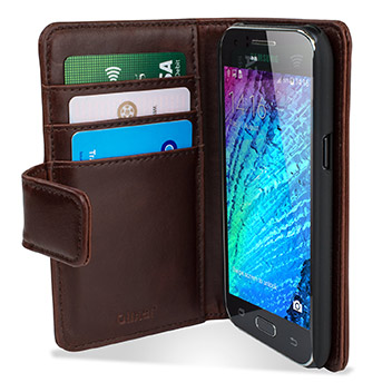 Olixar Samsung Galaxy S6 Edge Plus Genuine Leather Wallet Case - Brown