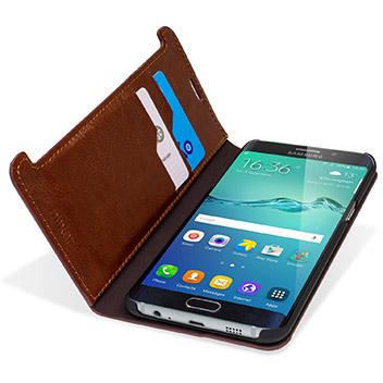 Olixar Leather-Style Samsung Galaxy S6 Edge Plus Wallet Case - Brown