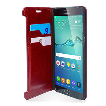 Olixar Leather-Style Samsung Galaxy S6 Edge Plus Wallet Case - Red