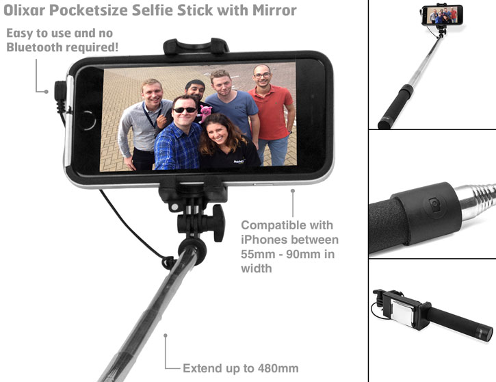 olixar pocketsize iphone selfie stick with mirror black mobilezap australia. Black Bedroom Furniture Sets. Home Design Ideas