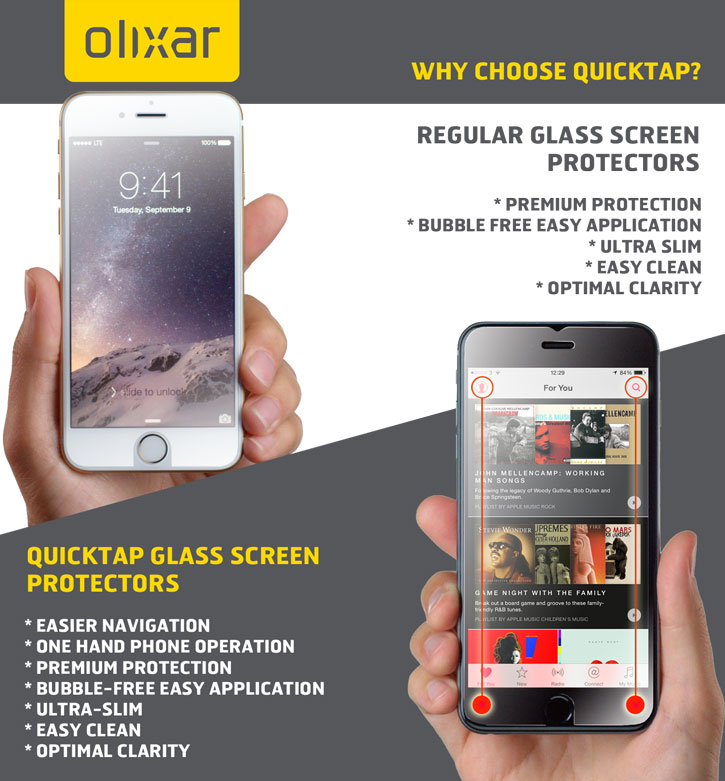 Olixar Quicktap iPhone 6 Plus Tempered Glass Screen Protector