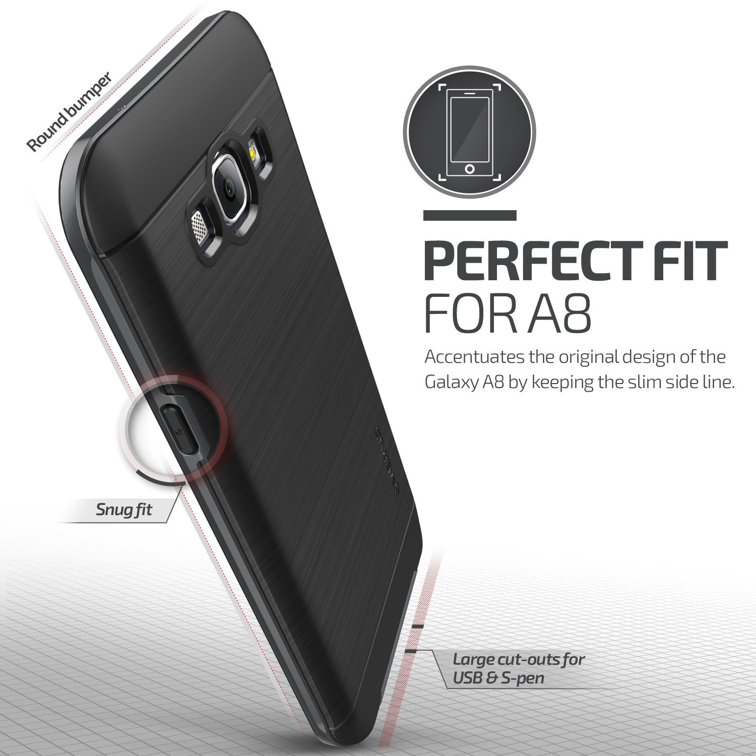 Verus High Pro Shield Series Samsung Galaxy A8 Case - Steel Silver