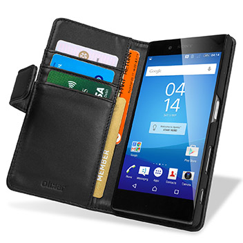 Olixar Sony Xperia Z5 Genuine Leather Wallet Case - Black