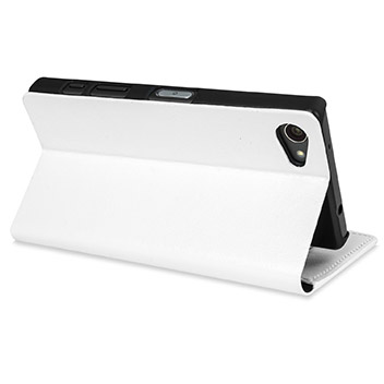 Olixar Leather-Style Sony Xperia Z5 Compact Wallet Stand Case - White