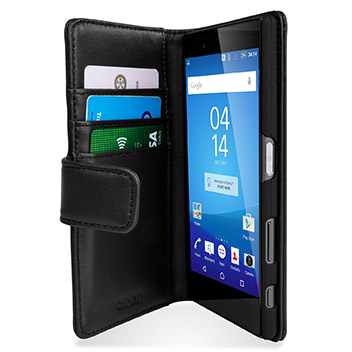 Olixar Sony Xperia Z5 Premium Genuine Leather Wallet Case - Black