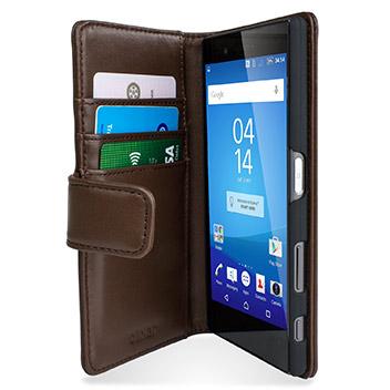 Olixar Sony Xperia Z5 Premium Genuine Leather Wallet Case - Brown