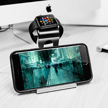 Aluminium Apple Watch Stand with iPhone and iPad Holder - Silver