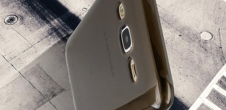 FlexiShield Samsung Galaxy J5 Gel Case - Smoke Black