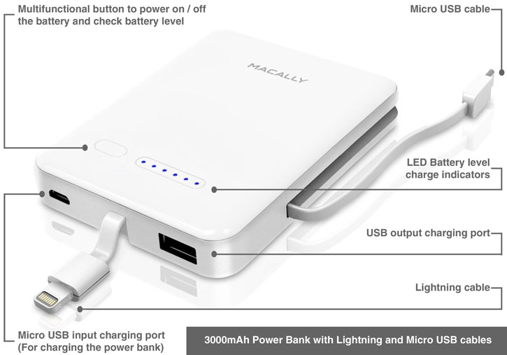 Macally 3000mah power bank with lightning and micro usb cables description sciox Image collections