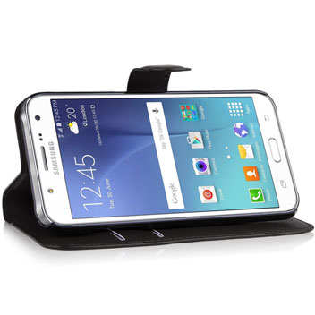Olixar Leather-Style Samsung Galaxy J5 Wallet Stand Case - Black