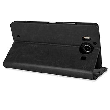 Olixar Leather-Style Microsoft Lumia 950 Wallet Case - Black