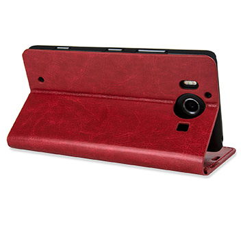 Olixar Leather-Style Microsoft Lumia 950 Wallet Case - Red