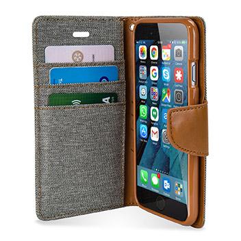 Mercury Canvas Diary iPhone 6S Plus / 6 Plus Wallet Case - Grey / Camel