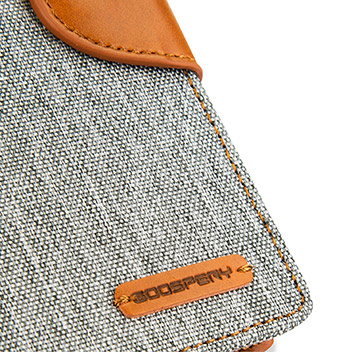 Mercury Canvas Diary iPhone 6S Plus / 6 Plus Wallet Case - Grey / Camel