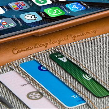 Mercury Canvas Diary iPhone 6S Plus / 6 Plus Wallet Case - Grey/Camel