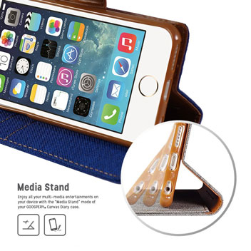Mercury Canvas Diary iPhone 6S Plus / 6 Plus Wallet Case - Blue / Camel