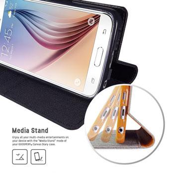 Mercury Canvas Diary Samsung Galaxy S6 Wallet Case - Black