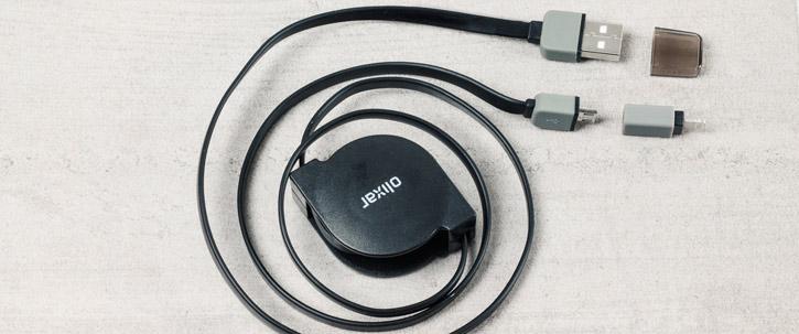 Olixar Retractable Dual Lightning / Micro USB Charge & Sync Cable