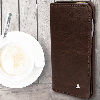Vaja Wallet Agenda iPhone 6S / 6 Premium Leather Case - Dark Brown