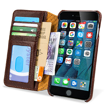 Vaja Wallet Agenda iPhone 6S Plus Premium Leather Case - Brown