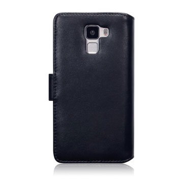 Olixar Premium Genuine Leather Huawei Honor 7 Wallet Case - Black