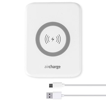aircharge Slimline Qi Wireless Charging Pad and US Plug - White