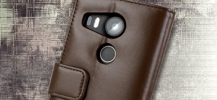 Olixar Premium Genuine Leather Nexus 5X Wallet Case - Brown