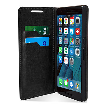 Olixar Leather-Style Nexus 6P Wallet Stand Case - Black