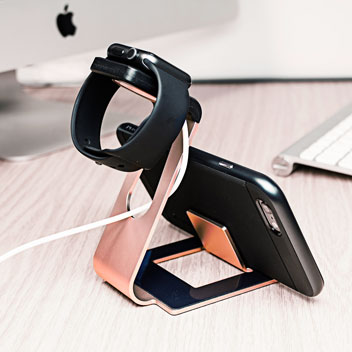 Aluminium Apple Watch Stand with iPhone Holder - Rose Gold