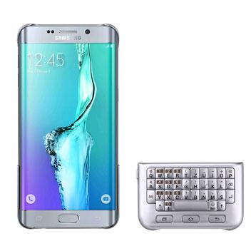 Official Samsung Galaxy S6 Edge Plus QWERTZ Keyboard Cover - Silver