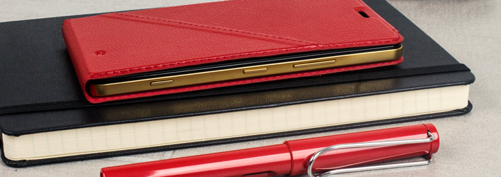 Mozo Microsoft Lumia 950 Genuine Leather Flip Cover - Red