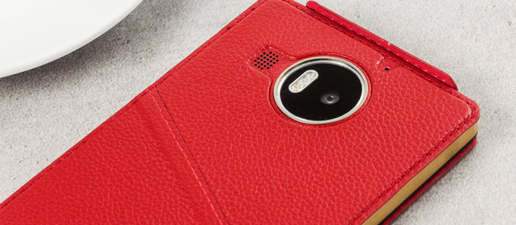 Mozo Microsoft Lumia 950 XL Genuine Leather Flip Cover - Red