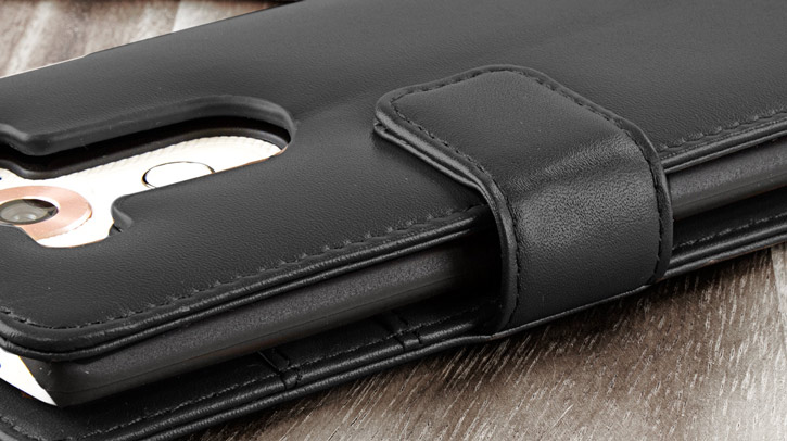 Olixar Genuine Leather LG V10 Wallet Case - Black