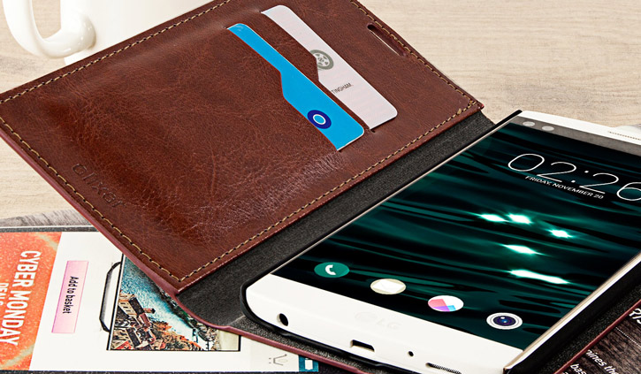 Olixar Leather-Style LG V10 Wallet Stand Case - Brown